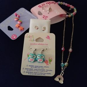 Claire's Jewelry Owl Rainbow Earrings Necklace Lot
